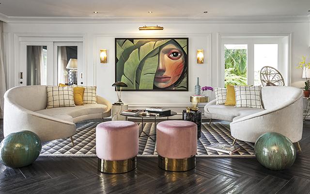 Geometría tropical. Sin miedo al color, Jorge Brown creó el diseño de interiores de esta residencia en Casa de Campo, en República Dominicana.